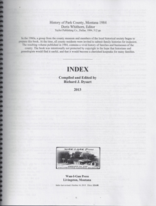 Index Park County History 1984