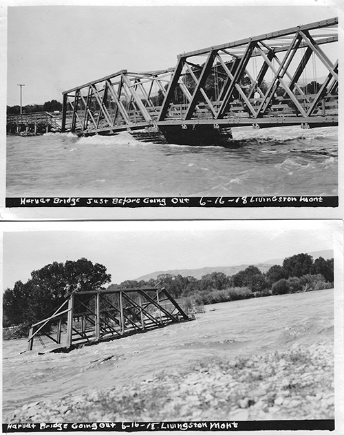 Harvat Bridge before and after the flood of 1918