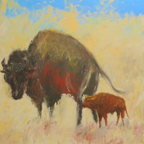 Oil painting of bison cow and calf by Betsey Hurd
