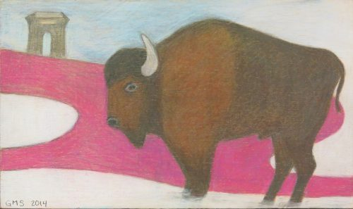 Colored pencil drawing of bison by Gilaine Spoto