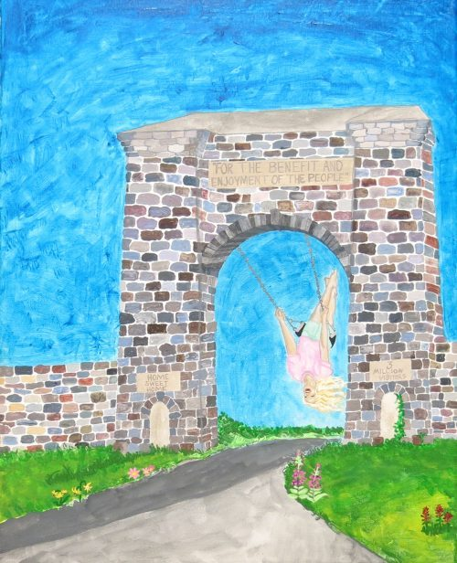 Painting of Roosevelt Arch with young girl swinging from arch
