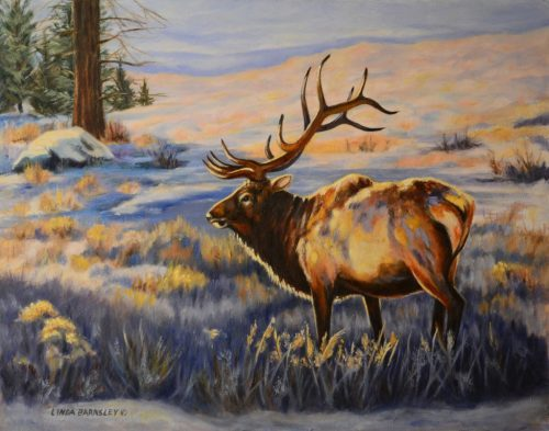 Elk in Yellowstone, oil painting by Linda Barnsley