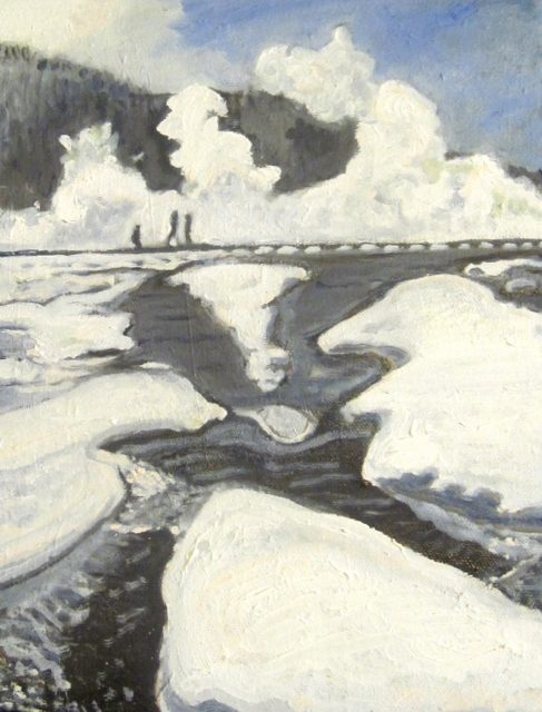 Oil painting of thermal area in Yellowstone by Noelle Sullivan