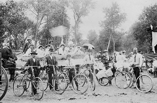 Bicyclists getting ready for 4th of July Parade, Livingston, Montana