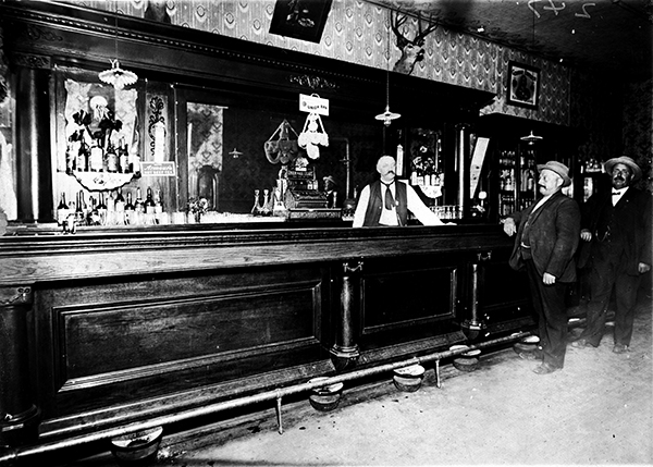 William Grabow behind the bar at the Grabow Hotel