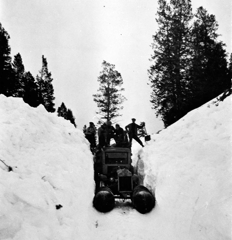 Fordson Snowmachine surrounded by snowbanks