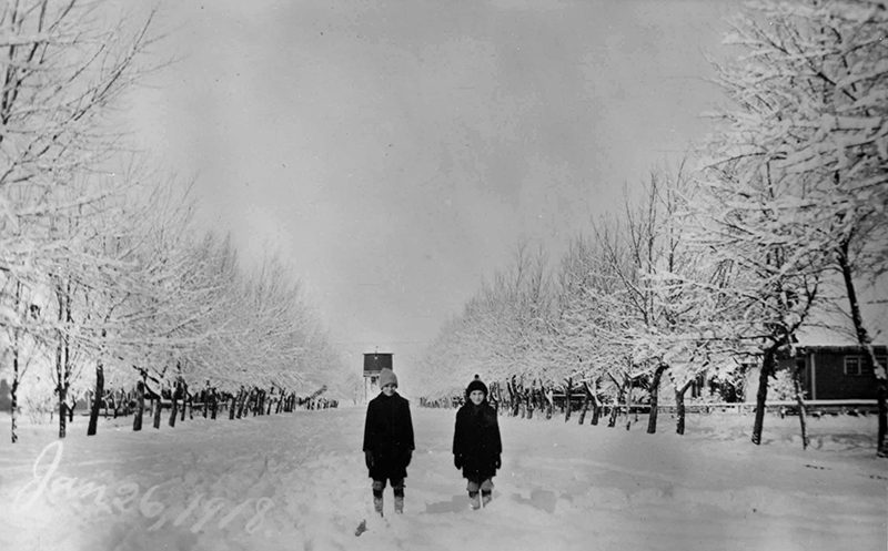 Two children standing in the middle of a snowy street