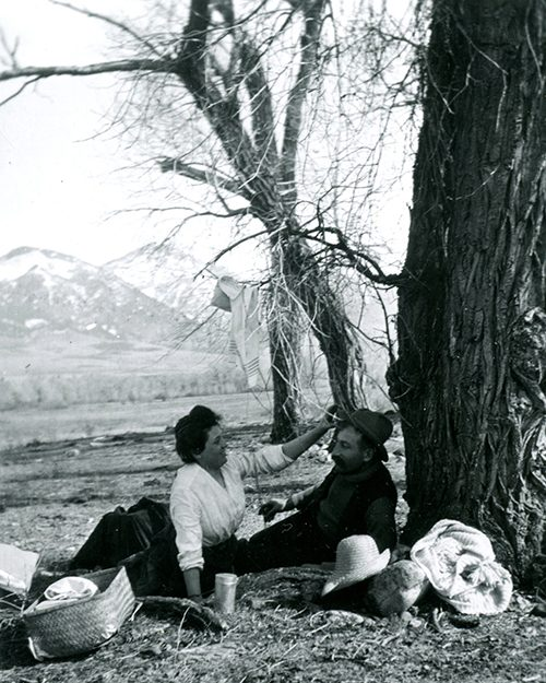 Man and woman on a picnic in Paradise Valley, Montana.