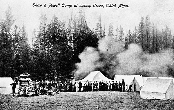Camping party posing at Shaw and Powell camp, Yellowstone National Park